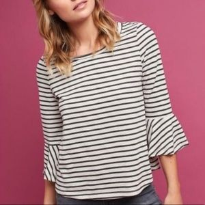Anthropologie Deletta Striped Bell Sleeve Top S